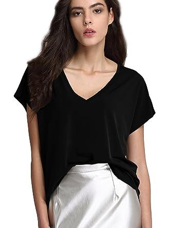 06e60a9c885 ANNA CHRIS Womens Plus Size Tops Short Sleeve V Neck Solid Blouse T-Shirt  Black 2XL