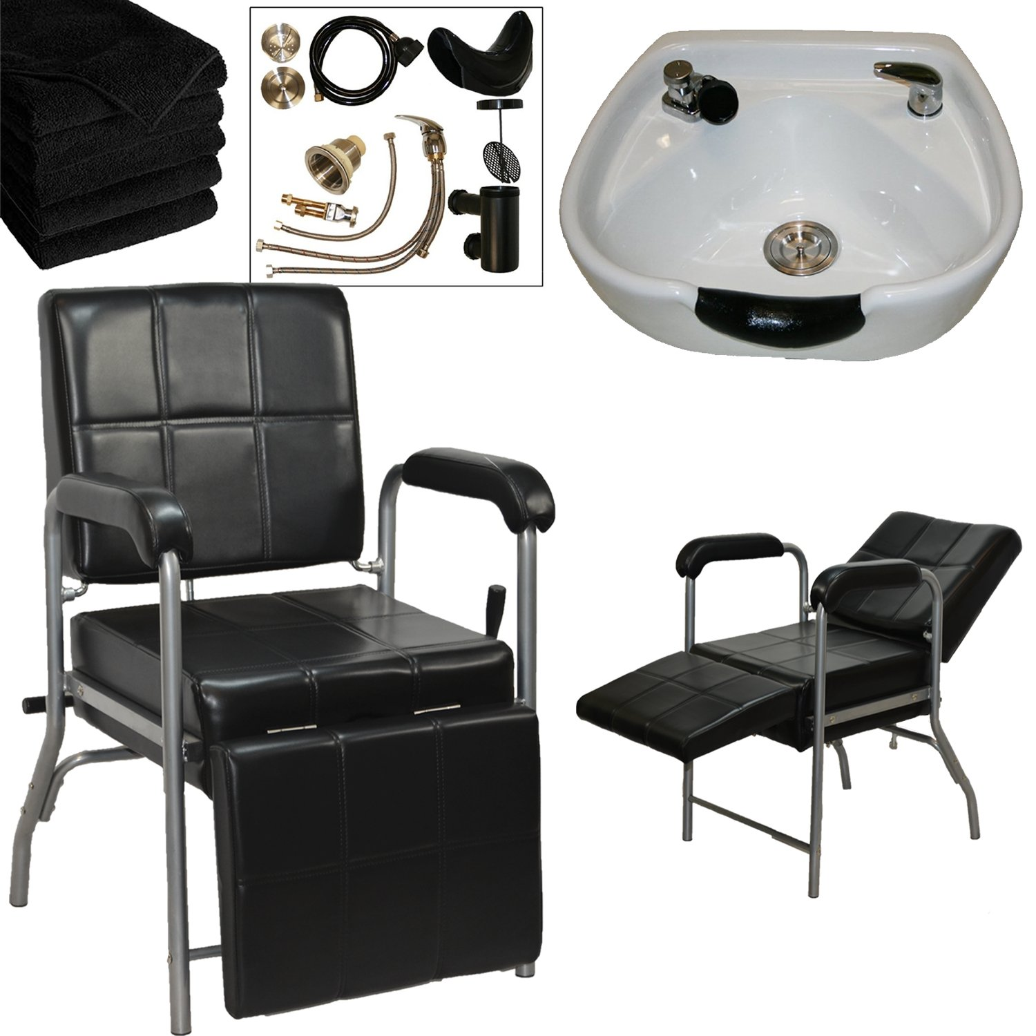 LCL Beauty Shampoo Package with Reclining Shampoo Chair with Adjustable Leg rest & Heart Shaped White Ceramic Shampoo Bowl – FREE 6 Black Absorbent Salon Quality Towels