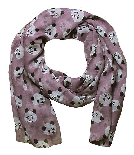 Mujer Bufandas con Estampado de Panda (Rosa)