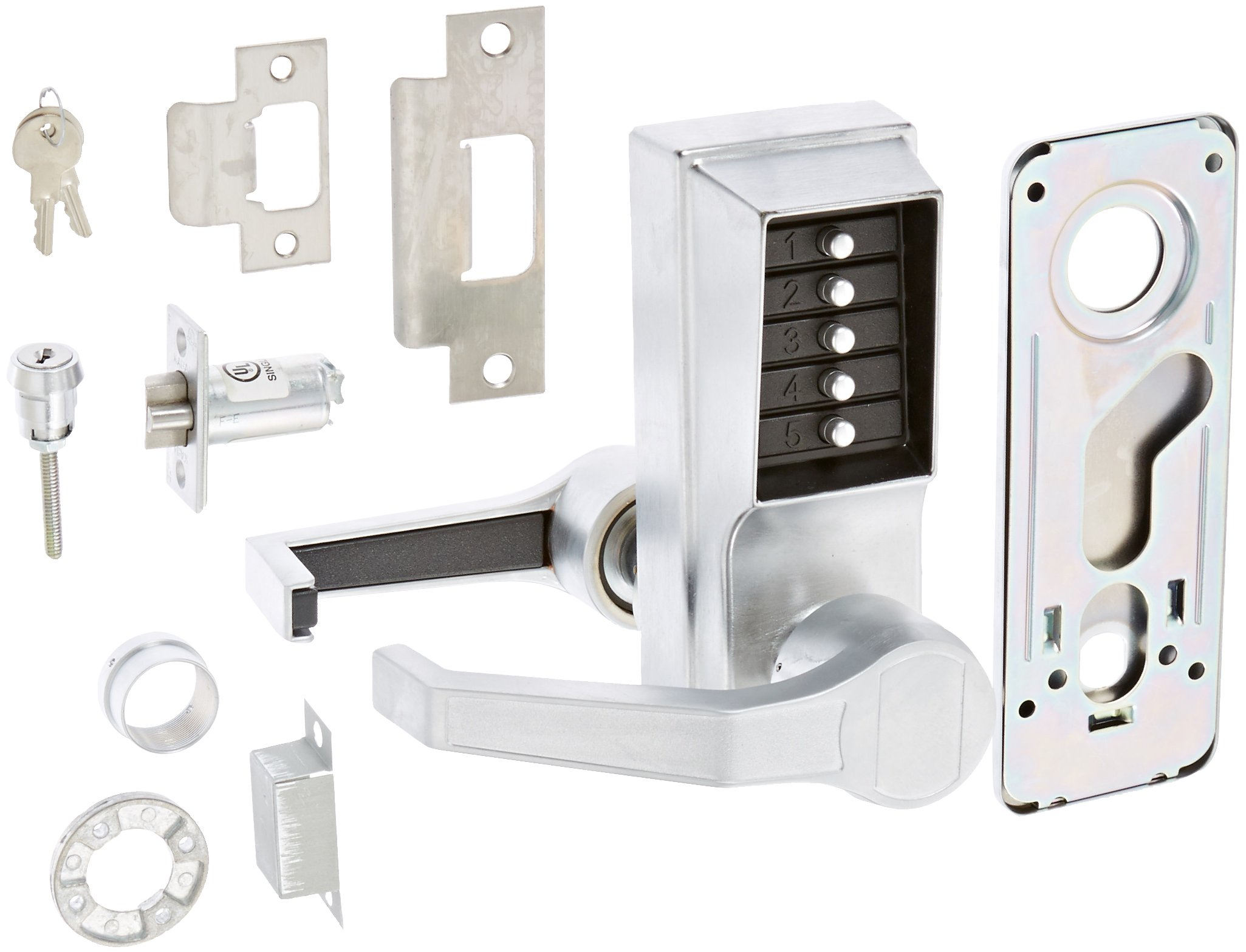 Kaba Simplex L1000 Series Metal Mechanical Pushbutton Cylindrical Lock with Lever, No Key Override, 13mm Throw Latch, Floating Face Plate, 70mm Backset, Satin Chrome Finish, Left Hand