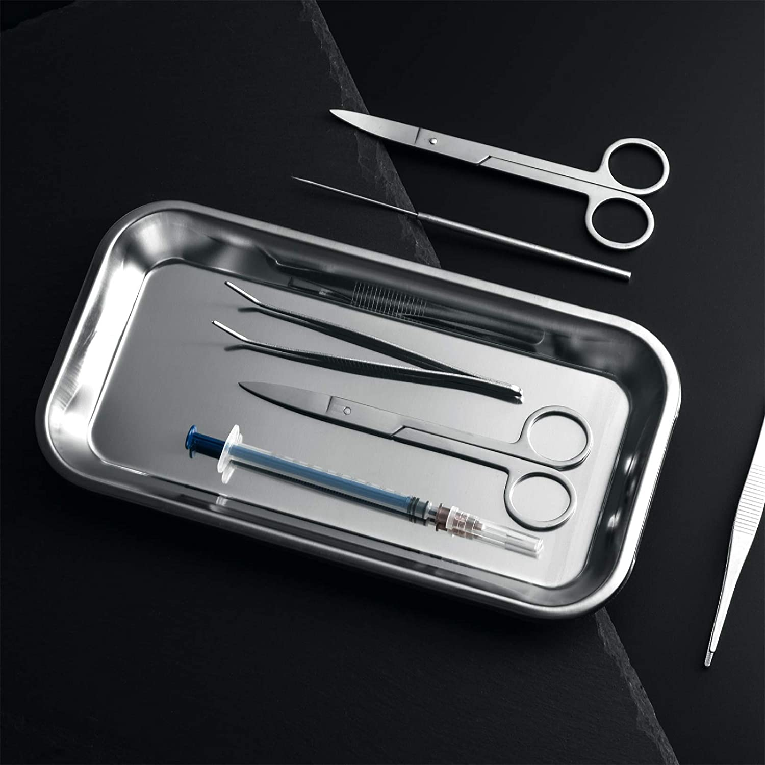 Tattoo Tool Silver Stainless Steel Tray for Lab Instrument Supplies COYMOS 3 Pack Surgical Tray