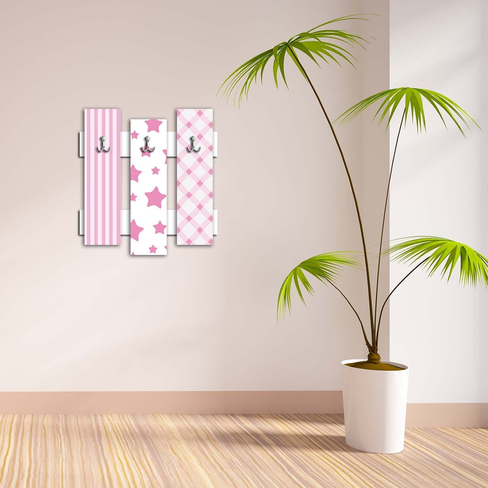 Decorative Wall Hook 3 Pcs Metal Key Holder 100% MDF Mounted Hanging Home Decor, Perfect for Foyers Entryway, Door Coats Hats Towels Scarfs Bags Star Pattern Design Sky Cloud Smiling Pink Plaid Square