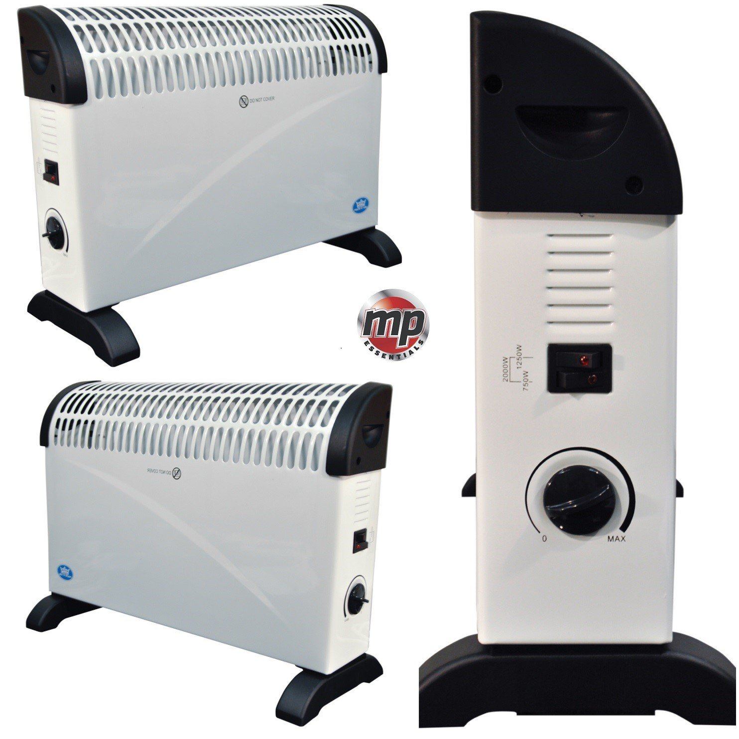 2 x MP Essentials 2kW Home & Office Convector Radiator Heaters (Wall Mounted or Floor Standing)