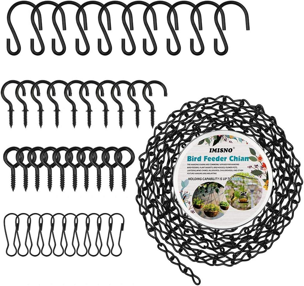 Hanging Chain for Bird Feeders, Birdbaths, Chimes, Planters, Lanterns and Ornaments, Metal Hook (Black,156 Inch)