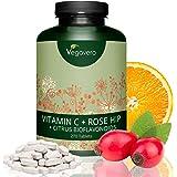 Vitamina C Vegavero® 1000 mg | 270 Comprimidos | Con Bioflavonoides + Rosa de Mosqueta | Vegana | Previene Resfriados y Gripes + Refuerza las Defensas