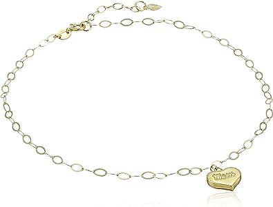 "14K Yellow Gold 9/""-10/"" Adjustable Open Heart Box Link Ankle Bracelet Anklet .95g"