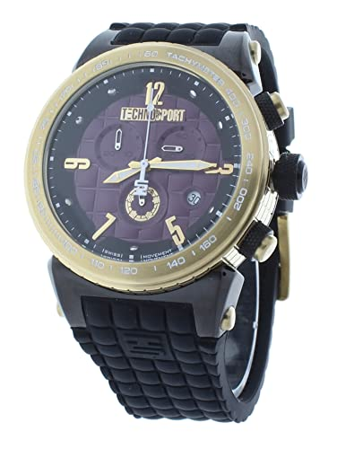 TechnoSport ts-1300 - 6 Reloj para hombres Carcasa de cuadros Swiss Chrono reloj Purple Dial Negro Correa de silicona: Technosport: Amazon.es: Relojes