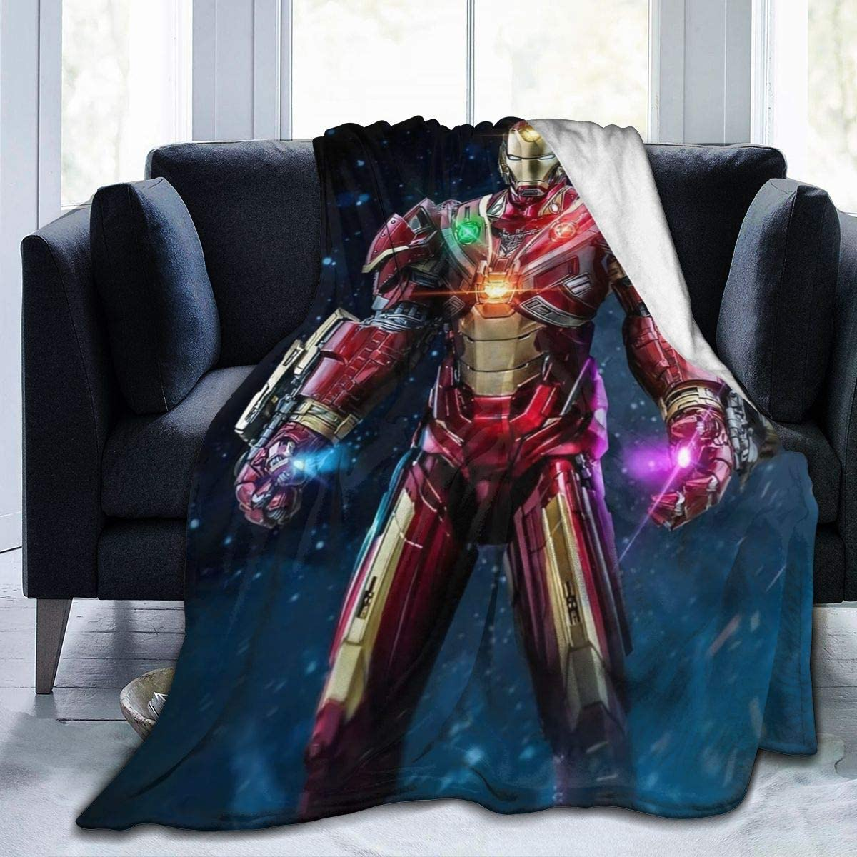 Iron Man Throw Blanket-Soft Warm and Cozy Light Weight Fleece Throw Blanket Bed Couch and Living Room for Kids Adults Gift.
