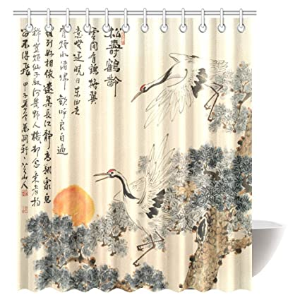 Amazon.com: InterestPrint Asian Shower Curtain, Traditional Chinese ...