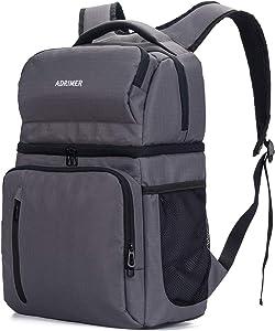 ADRIMER Cooler Backpack Insulated Waterproof, Backpack Cooler Leakproof, Backpack Lunch Bag for Men Women to Beach Work Fishing Travel Hiking