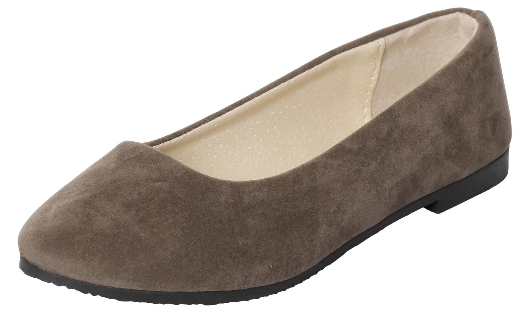 UJoowalk Womens Casual Simple Comfort Solid Color Pointed Toe Suede Leather Ballet Walking Slip on Flat Shoes (6 B(M) US, Matte Brown)