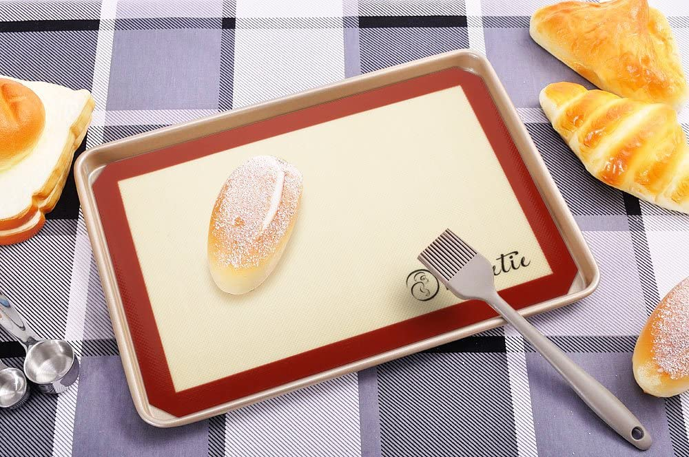 Macaron Bake Pan Bread Pastry Vervetie Silicone Baking Mat Non-Stick Mat Silicone Cookie Mat for Oven 2 Pack