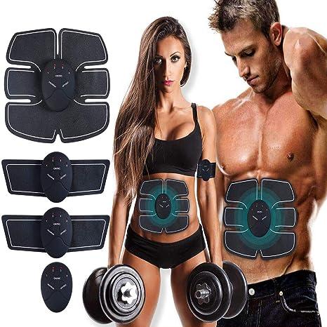 MASOMRUN Electroestimulador Muscular Abdominales Cinturón,Masajeador Eléctrico Cinturón con USB,EMS Ejercitador del Cuerpo de los Músculos de Brazos y ...