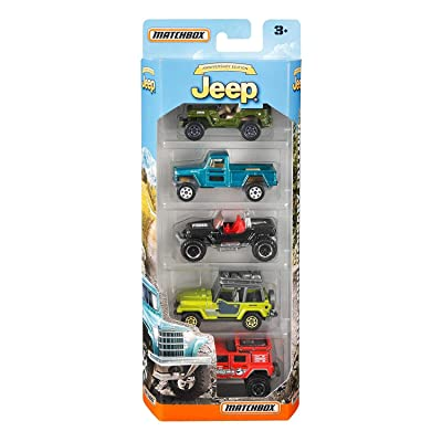 Matchbox Anniversary Edition Jeep 5-Pack, Multicolor: Toys & Games