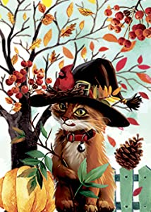 Morigins Fall Kitten Double Sided Decorative Autumn Kitty Cat Pumpkins Garden Flag 12.5x18 Inch