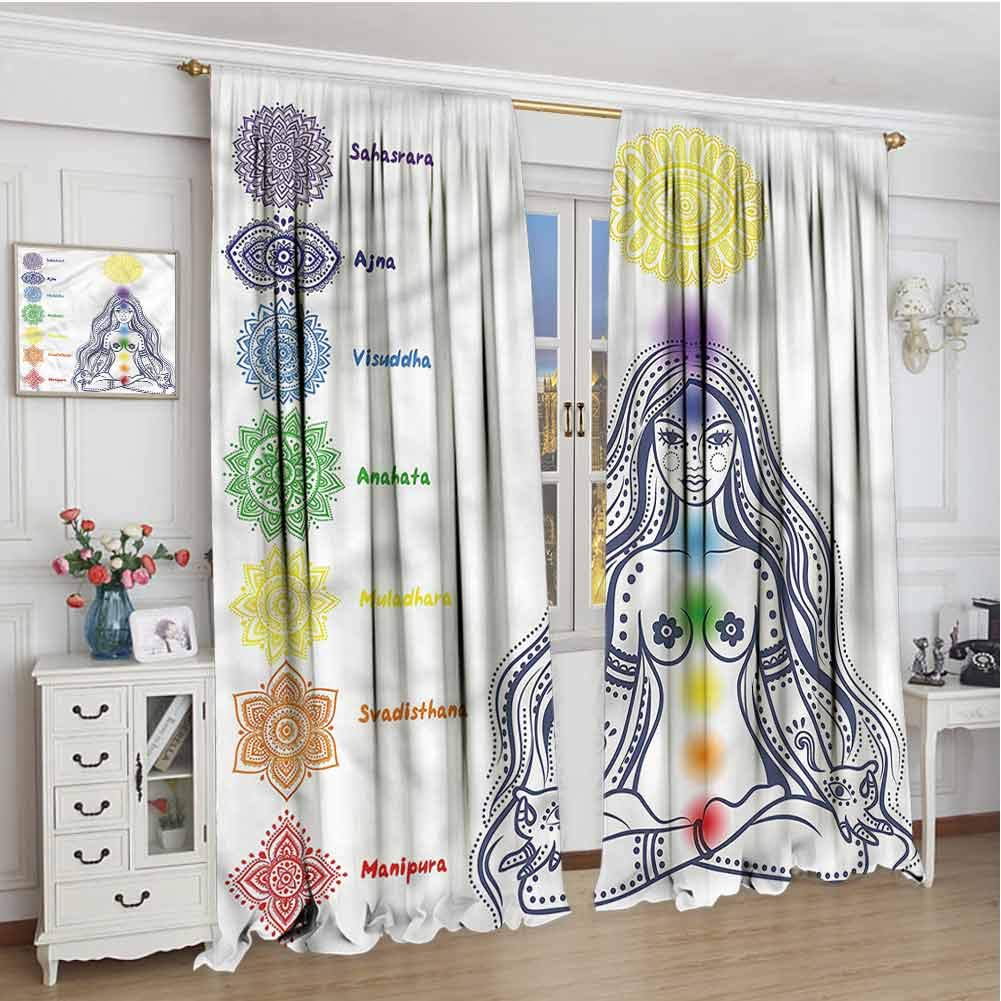 June Gissing Chakra Outdoor/Indoor Window Cover 63 inches Long, Chakra Points Names Door Panel Curtain 55 x 63 by June Gissing