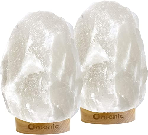 Omonic 2 Pack White Himalayan Salt Lamp Night Light Lights Crystal Hand Carved Hymalain Rock Table Lamps 5-8 lbs,6.5-10″ ,Thailand Rubberplatinum Base