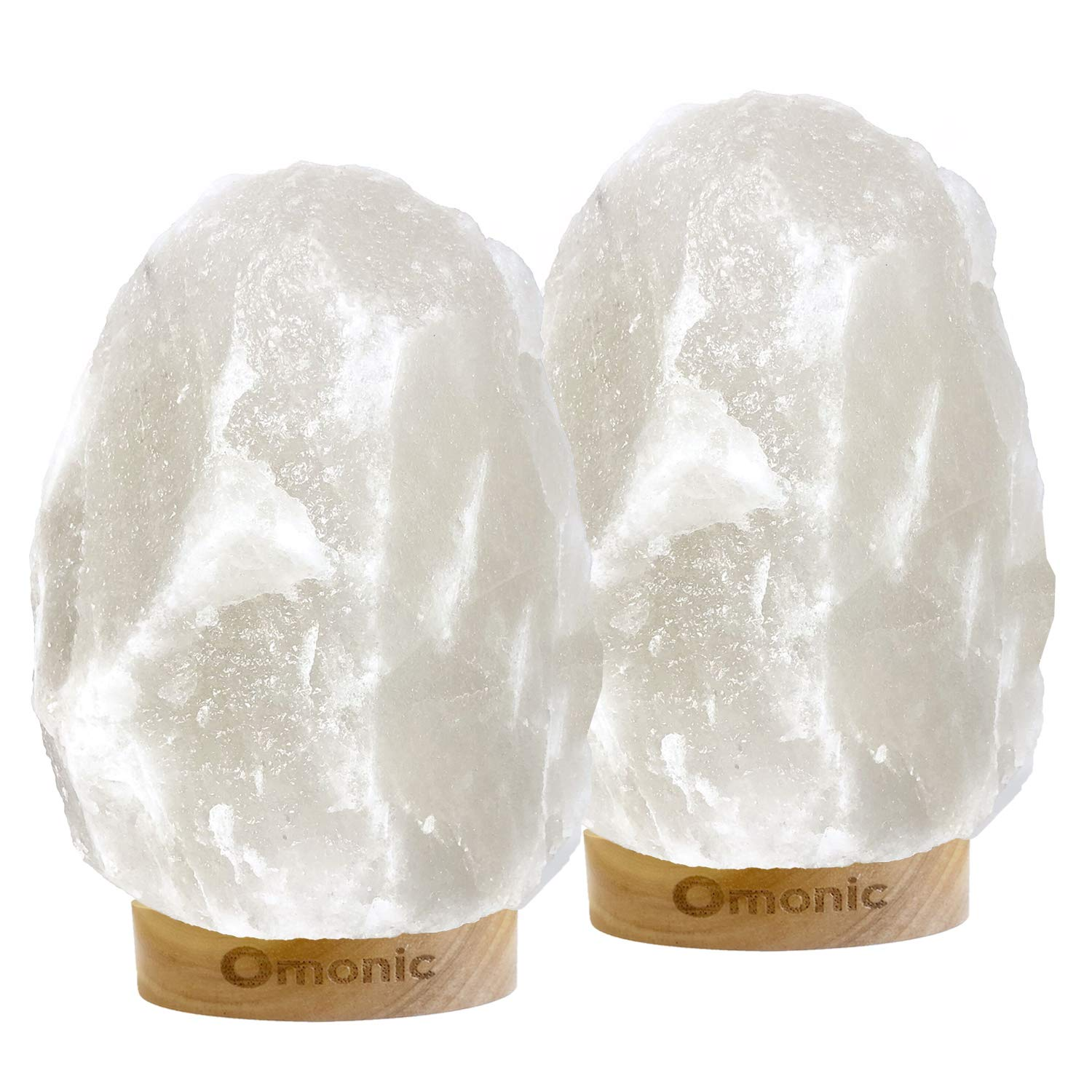 Omonic 2 Pack White Himalayan Salt Lamp Night Light Lights Crystal Hand Carved Hymalain Rock Table Lamps(5-8 lbs,6.5-10''),Thailand Rubberwood Base, Dimmable Switch Control (Bulbs Included)