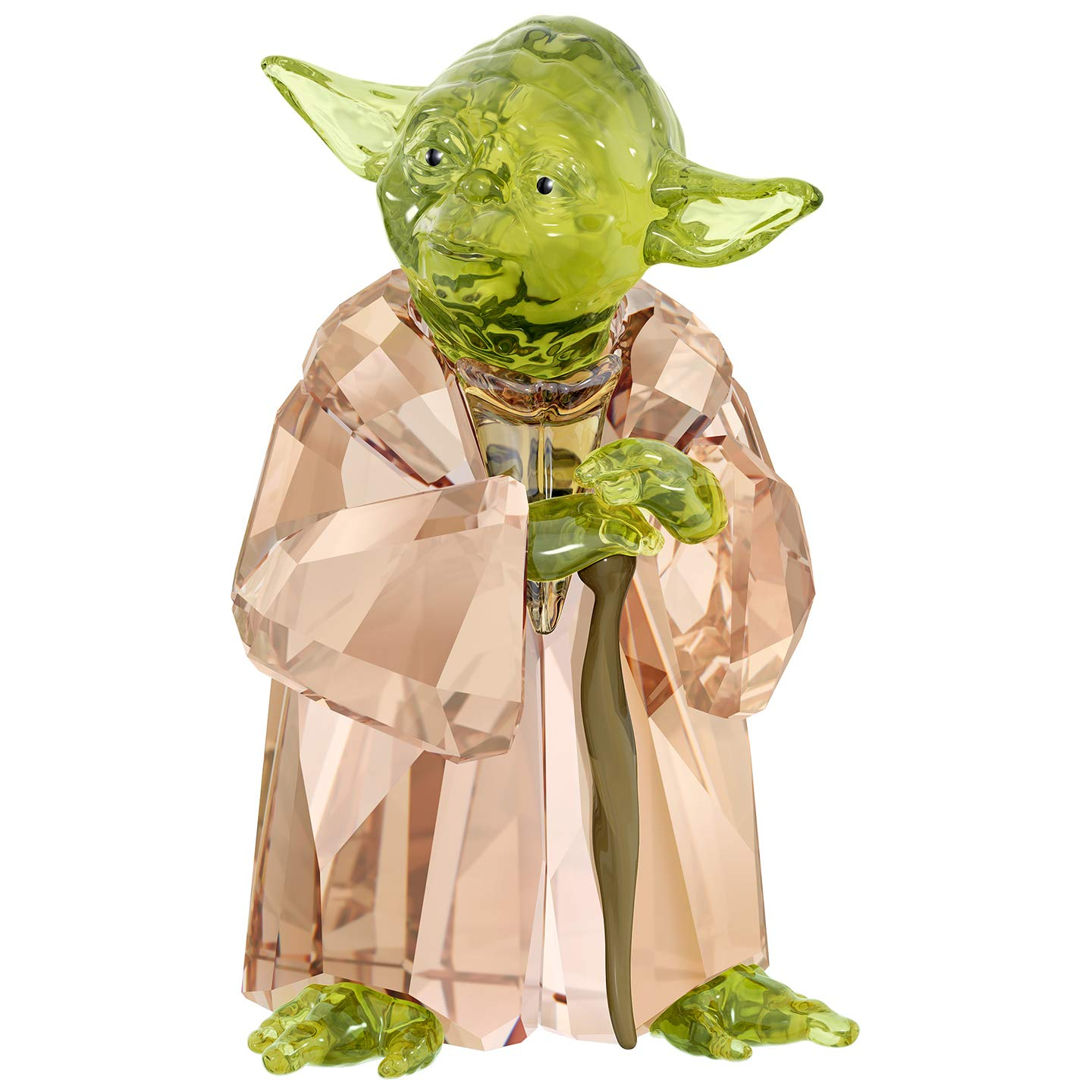 The Star Wars galaxy meets sparkling Swarovski crystal. Continuing our Star Wars collection, this Master Yoda design is a must for collectors. One of the oldest characters in the saga, he is crafted with 291 facets and rests on a cane made of metal with brown varnish. Decoration object. Not a toy.
