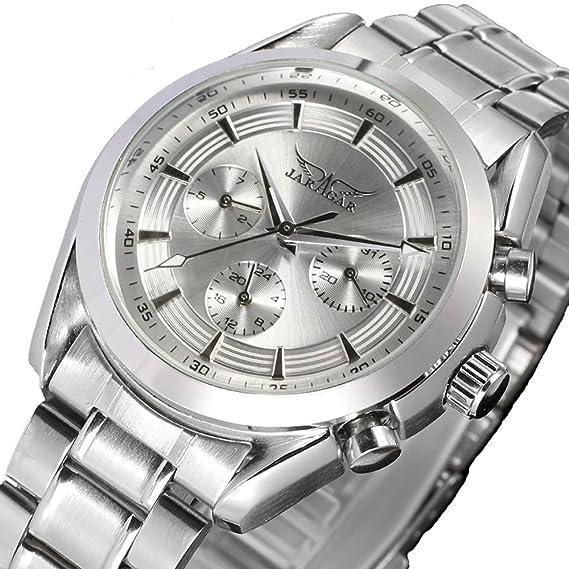 GuTe elegante hombre todo de plata inoxidable mechaincal Reloj de pulsera automática del Día y Fecha