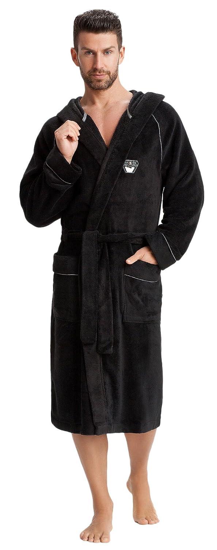 LEVERIE Accappatoio doccia da uomo, morbido e di ottima fattura/Accappatoio spa con cappuccio e pratiche tasche