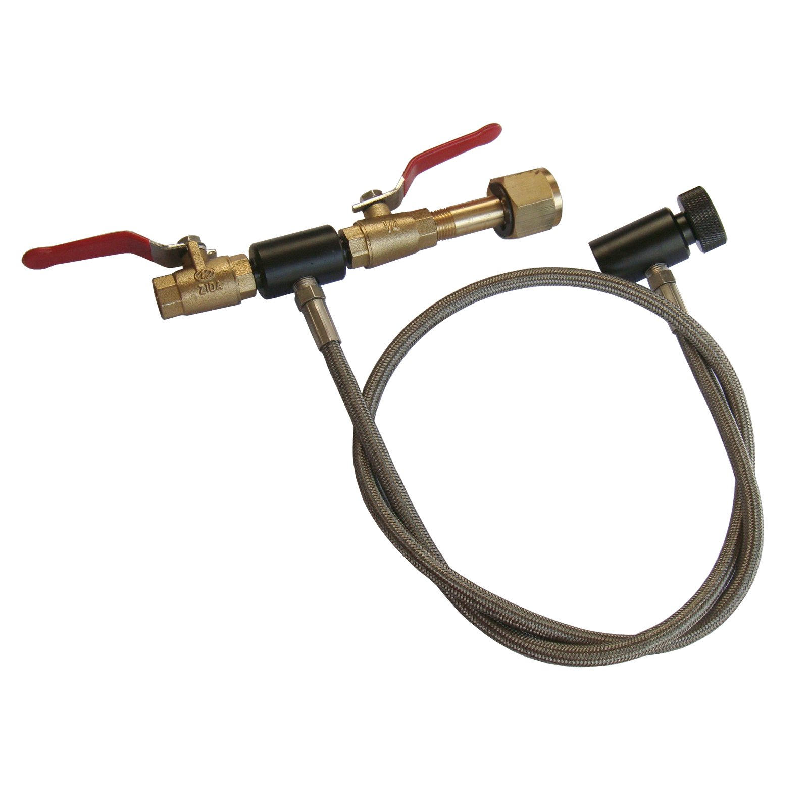 New 36'' Paintball Deluxe Dual Valve Co2 Fill Station-Stainless Steel Braided Hose Line by GFSP Outdoor Sports