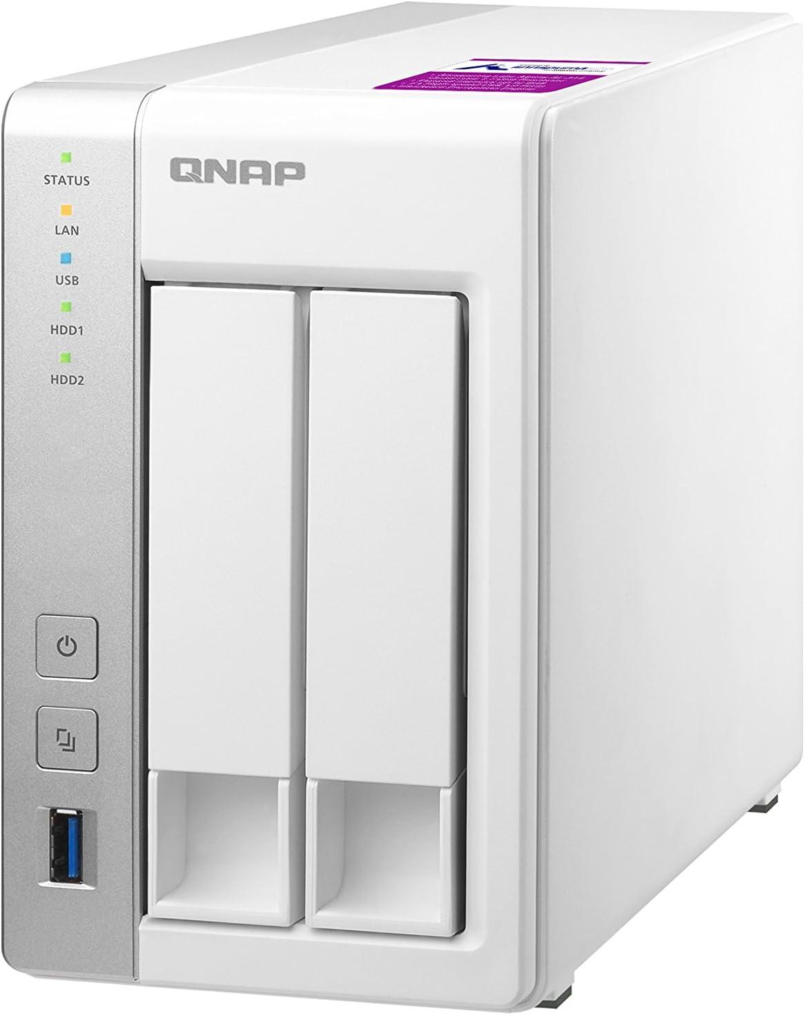 QNAP TS-231P2 Ethernet Torre Gris, Blanco NAS - Unidad Raid (8 TB, Unidad de Disco Duro, Unidad de Disco Duro, SSD, Serial ATA III, 4000 GB, 3.5