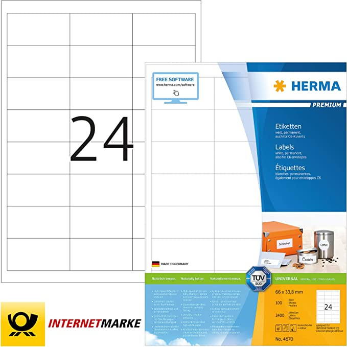 HERMA 4389 Tiefkühletiketten A4 66x33,8 mm weiß Papier matt 600 St.