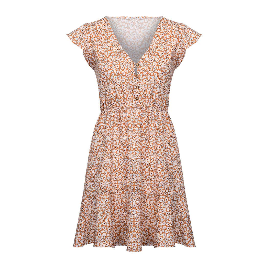 TnaIolral Womens Boho Dresses Floral Summer Party Evening Beach Short Mini Sundress Skirt Yellow