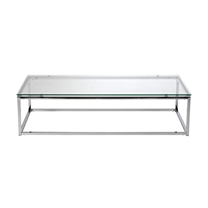 Euro Style Sandor Clear Glass Top Coffee Table, Chromed Steel Base
