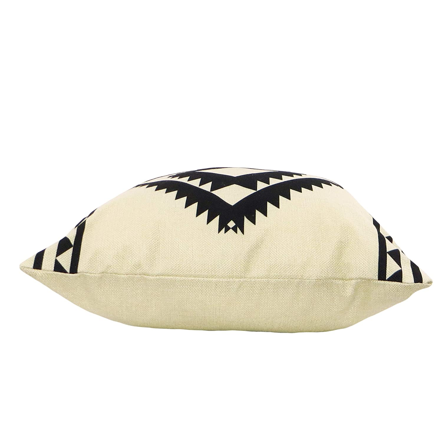 Set of 2 Bed or Desk Decorative Accent Throw Pillow Covers Minimalist Design 18x18 in Cushion Cases with Zipper Couch Southwest Aztec Tribal Natural White and Black Perfect for Sofa