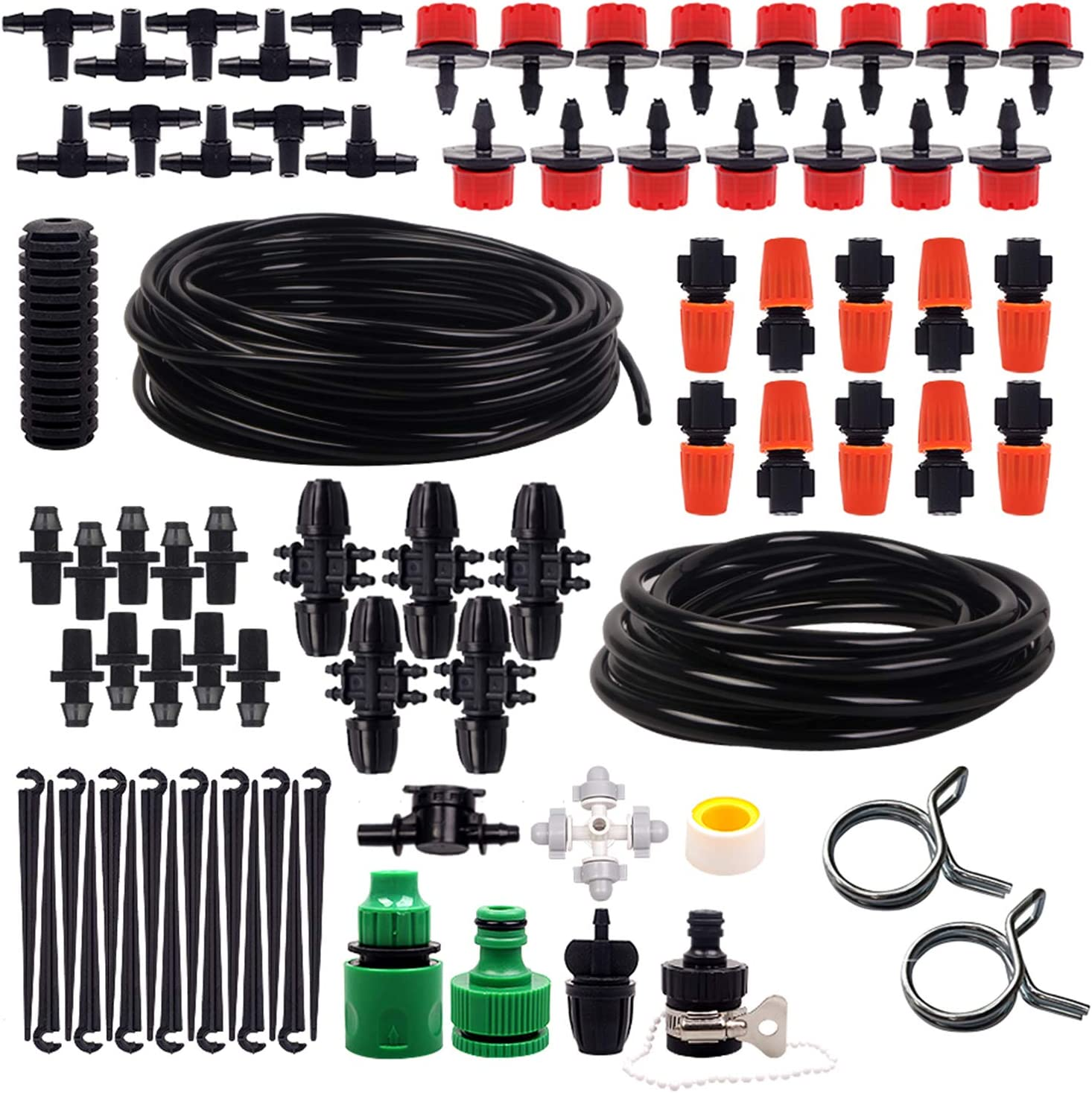 Drip Irrigation Kit, for Greenhouses And Gardens Irrigation System, With Irrigation Clamp And Hanging Nozzle, 16Ft 1/2 And 65ft 1/4tube,Solutions of Leakage And Irrigation System Water Pressure