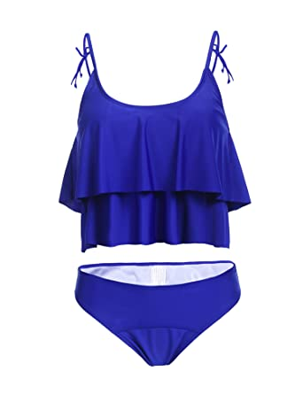 536c4a27ce6b6 Almaree Womens One Shoulder Tie Front High Waist Bikini Set Two Piece  Swimsuits