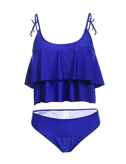 d88f7b18cb Amazon.com: ADOME Women Two Pieces Bikini Set One Shoulder Swimwear Bathing  Suit: Clothing