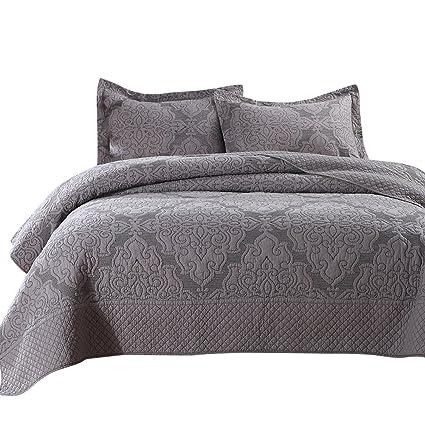 Amazoncom Newlake Jacquard Hypoallergenic Floral Pattern Bedspread