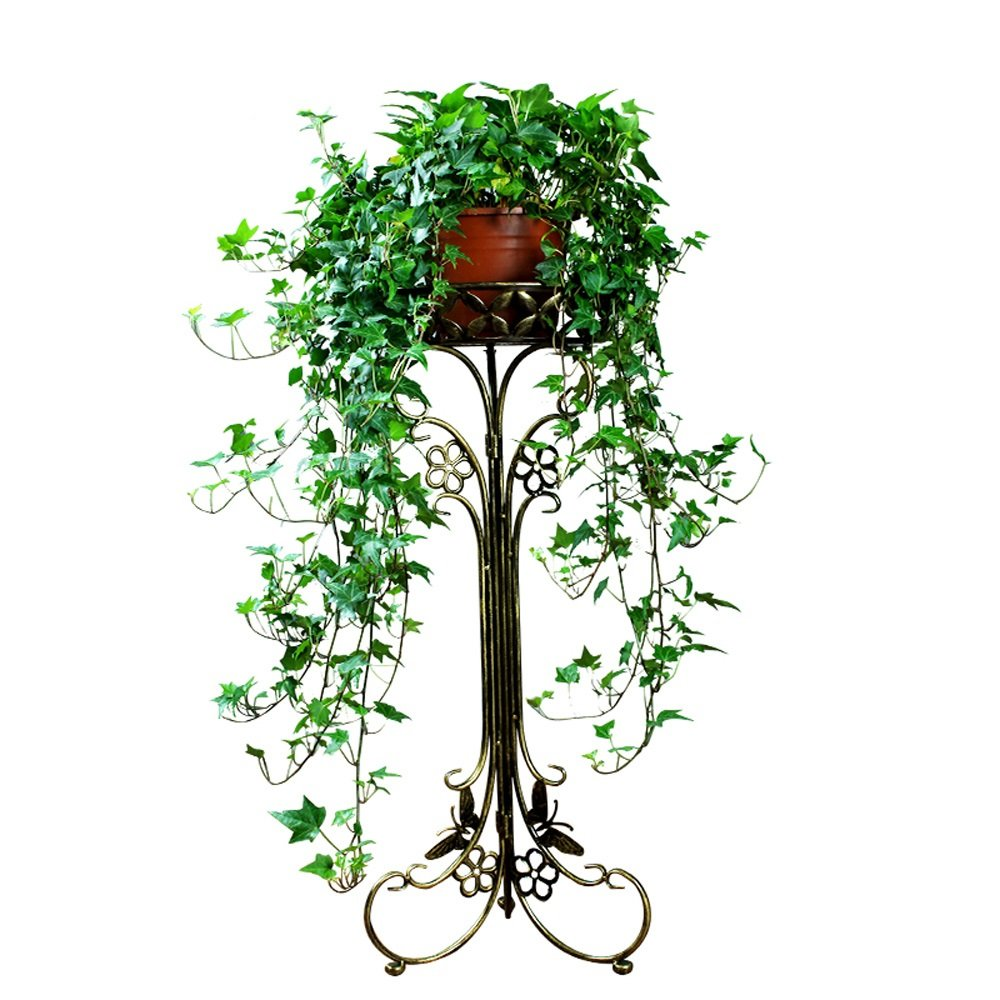 DYGDHJ Iron Flower Stand Plant Stand Indoor Balcony Rust (colore  Bronzo) da Pavimento (Dimensioni   M)