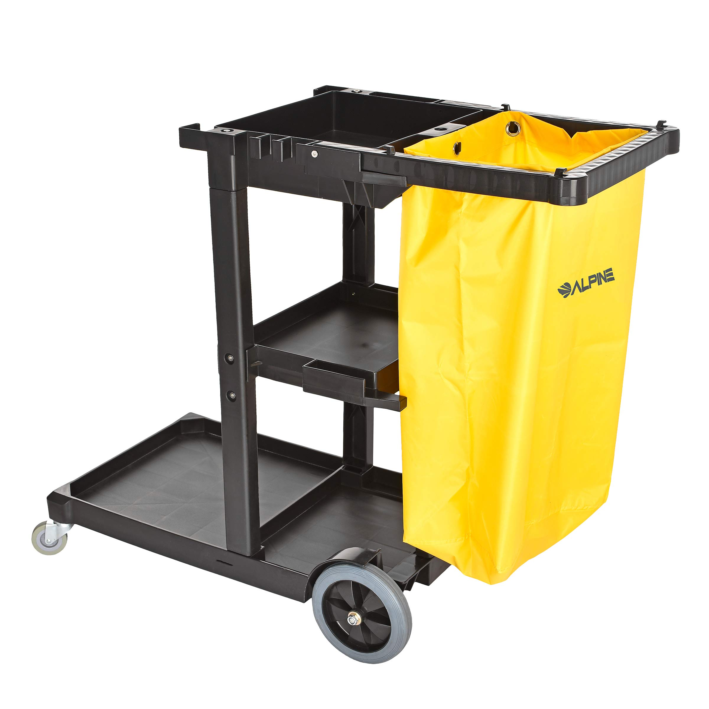 Alpine Industries Traditional Janitorial Cleaning Cart with 3 Shelves - Commercial Rolling Janitor Caddy with Vinyl Bag - Custodial Carts for Housekeeping Business