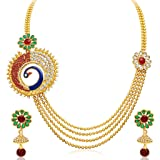 Sukkhi Eye-Catchy Peacock Four Strings Gold Plated Necklace Set for Women