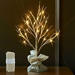 Fudios Artificial Bonsai Birch Tree Light 18IN 24LED Table Top Decor Battery Powered with Timer, Light up Fake Mini Christmas White Tree Decorations for Home Diner Fall Xmas Wedding Party Gift