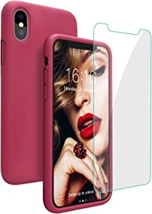 JASBON Case for iPhone Xs Max, Liquid Silicone Shockproof Phone Cover with Free Screen Protector for iPhone Xs Max 6.5 inch-Rose Red