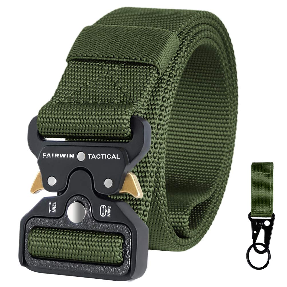 Fairwin Tactical Belt for Men, Military Style Nylon Web Belt with Heavy-Duty Quick-Release Metal Buckle(Green, L (Waist 42''-46'')) by Fairwin