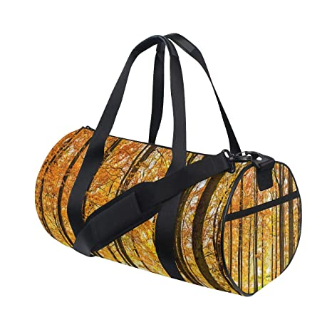 Autumn Forest Sports Gym Bag with Shoes Compartment Travel Duffel Bag for Men and Women