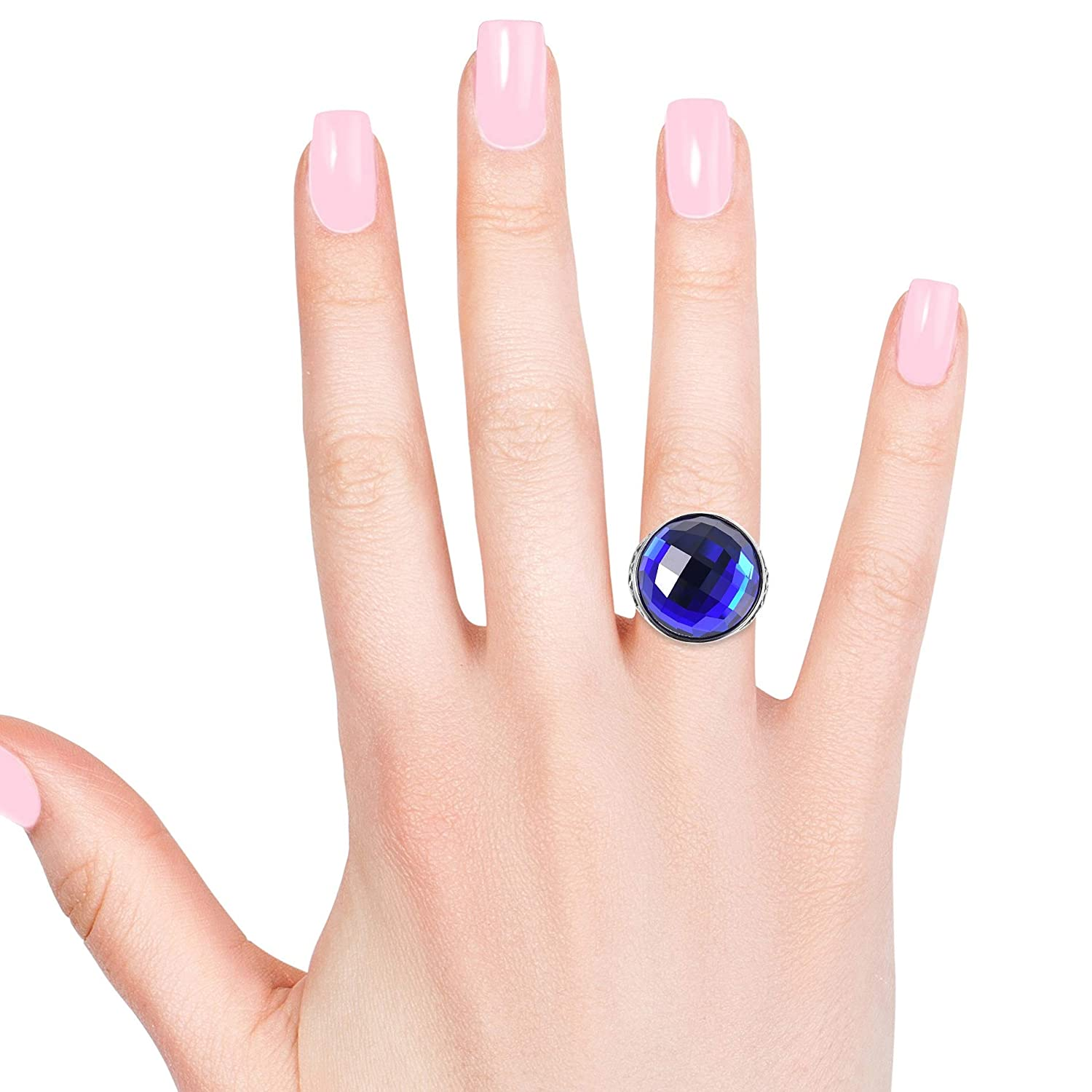 Shop LC Delivering Joy Cocktail Ring Stainless Steel Round Blue Glass Jewelry for Women Size 9
