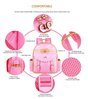 Gazigo Children Princess Waterproof PU Backpack for Elementary School Girls 81a059cb27f43
