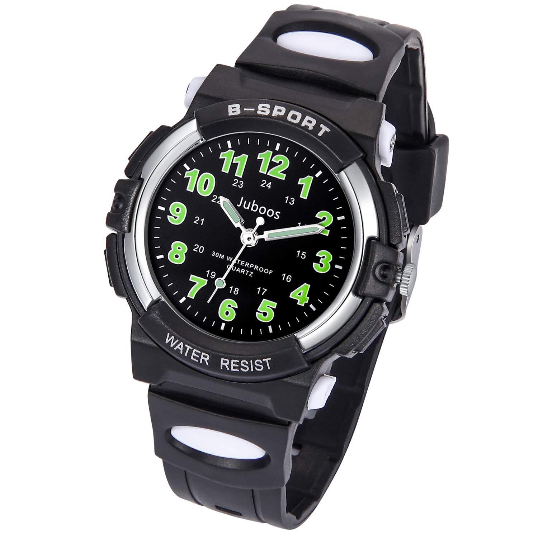 Kids Watch, Child Quartz Wristwatch with for Boys Kids Waterproof Time Teach Watches Rubber Band Analog Quartz Children Sport Outdoor Wrist Watches (Most Black) by Juboos