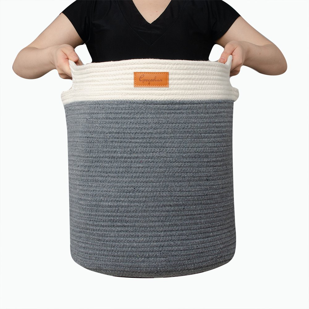 """Cotton Rope Storage Basket with Handles Grey - XL 16.5""""x 16.5"""" Baby Gift Basket - Nursery Decor - Laundry - Bin for Toys, Towels, Blankets - Home Organizer - Clothes Hamper - Woven - Jumbo Size"""
