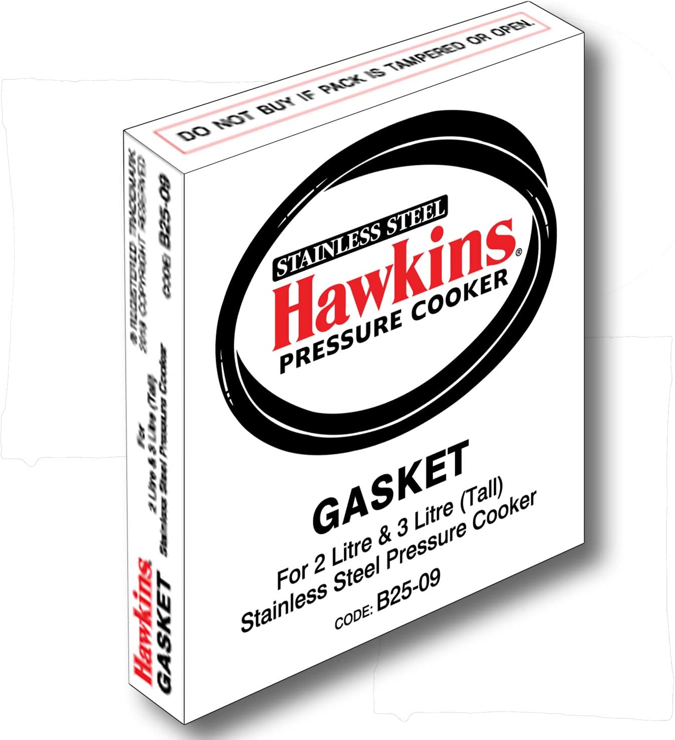Hawkins Stainless Steel B25-09 Gasket for 2 and 3 Litre Pressure Cookers Sealing Ring, Small, Black used to Keep the Appliance Airtight, to Build Pressure, Made from Materials