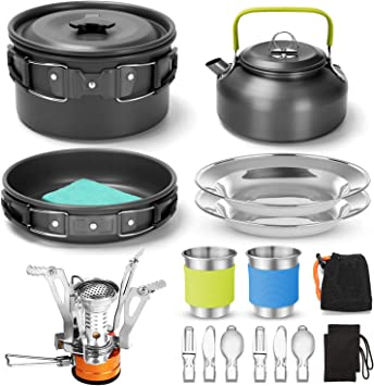 Odoland Kit de Utensilios de Cocina para Acampar de 16 Piezas con Estufa de Camping Plegable 2 Personas, Set de Ollas Antiadherentes con Tazas de ...