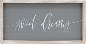 """Sweet Dreams Rustic Wooden Wall Sign Plaque,Wood Framed Farmhouse Wall Art Home Decor, 19.7""""x10.1"""""""