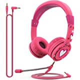FosPower Kids Headphones with Microphone & 3.5mm Detachable Cables (Max 85dB) Adjustable On Ear Audio Headphones with Laced T